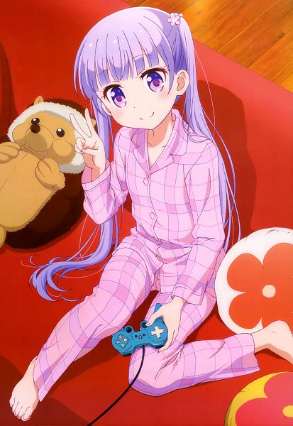 Tags: Anime, Dogakobo, NEW GAME!, Suzukaze Aoba, Flower Clip, Stuffed Hedgehog, PlayStation Paddle, Playstation, Official Art, Scan, Mobile Wallpaper