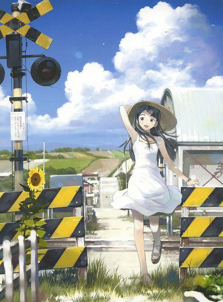 Tags: Anime, Yoshizuki Kumichi, Mahou Tsukai Ni Taisetsu Na Koto: Natsu No Sora, 100 Masters of Bishoujo Painting, Suzuki Sora, Railroad Tracks, Railroad Crossing, Official Art, Scan