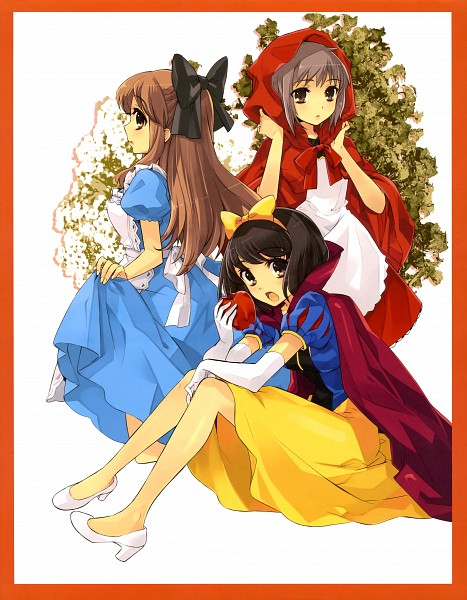 Tags: Anime, Ito Noizi, Suzumiya Haruhi no Yuuutsu, Nagato Yuki, Asahina Mikuru, Suzumiya Haruhi, Alice (Alice in Wonderland) (Cosplay), Official Art, Scan, The Melancholy Of Haruhi Suzumiya