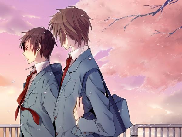 Tags: Anime, Pon De Yomisen, Suzumiya Haruhi no Yuuutsu, Koizumi Itsuki, Kyon, Railing, Fanart, Wallpaper, Pixiv, The Melancholy Of Haruhi Suzumiya