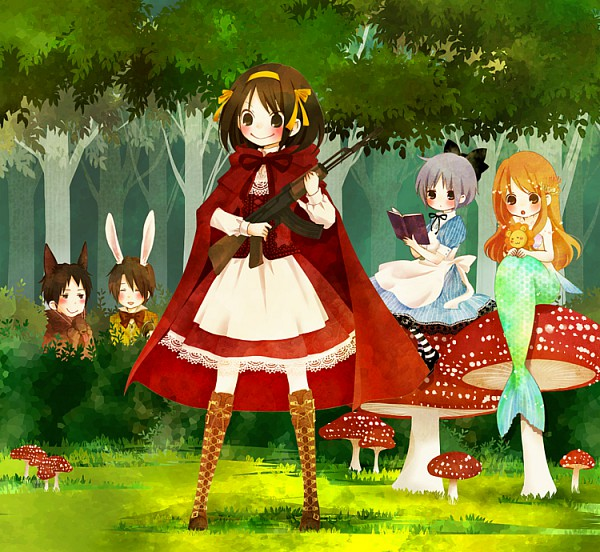 Tags: Anime, Pixiv Id 822009, Suzumiya Haruhi no Yuuutsu, Koizumi Itsuki, Kyon, Nagato Yuki, Asahina Mikuru, Suzumiya Haruhi, Little Mermaid (Parody), Red Riding Hood (Cosplay), Red Riding Hood (Parody), Ariel (Cosplay), Alice in Wonderland (Parody), The Melancholy Of Haruhi Suzumiya