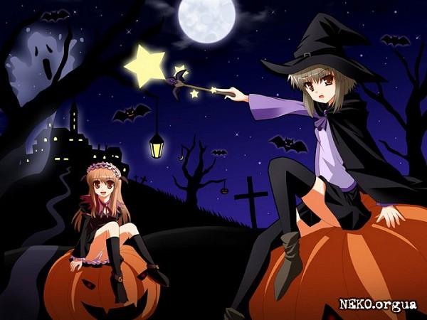 Tags: Anime, Shonyou, Suzumiya Haruhi no Yuuutsu, Nagato Yuki, Asahina Mikuru, Sitting On Pumpkin, Fanart, The Melancholy Of Haruhi Suzumiya