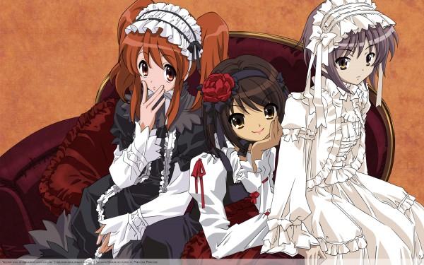 Tags: Anime, Suzumiya Haruhi no Yuuutsu, Suzumiya Haruhi, Nagato Yuki, Asahina Mikuru, Wallpaper, The Melancholy Of Haruhi Suzumiya