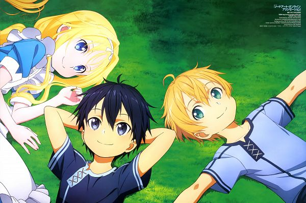 Tags: Anime, Hayakawa Asami, A-1 Pictures, Sword Art Online, Sword Art Online: Alicization, Kirigaya Kazuto, Alice Schuberg, Eugeo (Sword Art Online), Ruild Trio, Laying on Grass, Scan, Official Art, Magazine (Source)