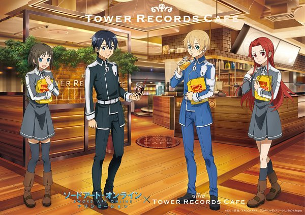 Tags: Anime, A-1 Pictures, Sword Art Online, Sword Art Online: Alicization, Tiese Shtolienen, Eugeo (Sword Art Online), Kirigaya Kazuto, Ronye Arabel, Straw, Restaurant, Product Advertising, Official Art
