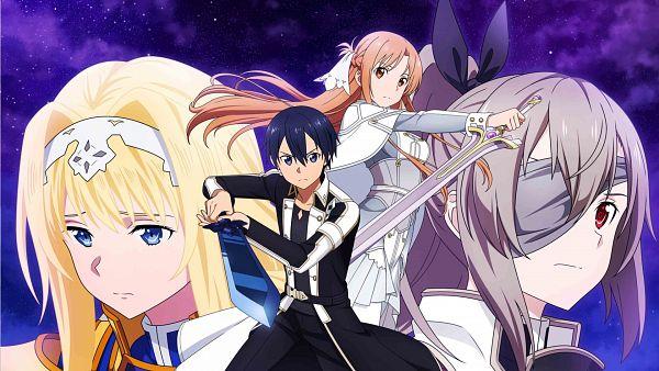 Tags: Anime, Bandai Namco Entertainment, Sword Art Online, Sword Art Online: Alicization Blading, Eydis Synthesis Ten, Kirigaya Kazuto, Stacia (PA), Yuuki Asuna, Alice Schuberg, Official Art, Key Visual, Sword Art Online: Alicization Rising Steel