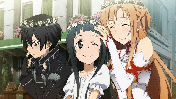 Tags: Anime, Aquria, Sword Art Online, Sword Art Online: Hollow Fragment, Kirigaya Kazuto, Yui (Sword Art Online), Yuuki Asuna, Wallpaper, CG Art, Official Art