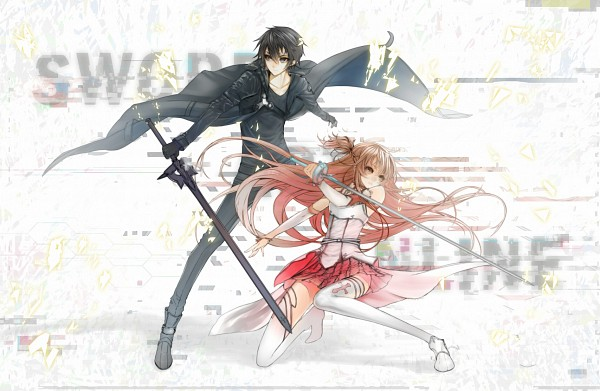 Tags: Anime, Minevi, Sword Art Online, Kirigaya Kazuto, Yuuki Asuna, Rapier, Pixiv, Fanart From Pixiv, Fanart