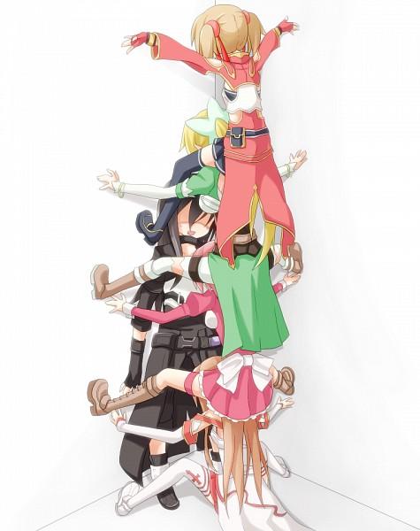Tags: Anime, Rateratte, Sword Art Online, Yuuki Asuna, Kirigaya Suguha, Kirigaya Kazuto, Shinozaki Rika, Ayano Keiko, Cicada Block, Pixiv, Fanart From Pixiv, Fanart