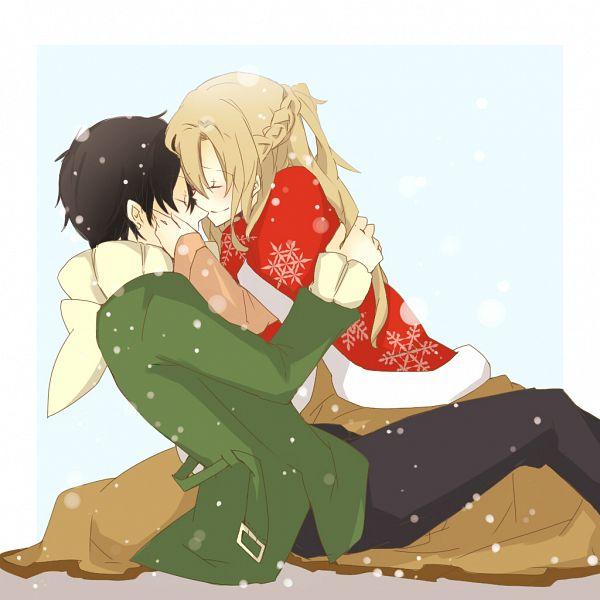 Tags: Anime, Aine (Haibane), Sword Art Online, Kirigaya Kazuto, Yuuki Asuna, Kiss On The Nose, Pixiv, Fanart From Pixiv, Fanart