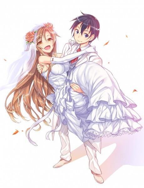 Tags: Anime, Akihazama, Sword Art Online, Yuuki Asuna, Kirigaya Kazuto, Pixiv, Fanart From Pixiv, Fanart