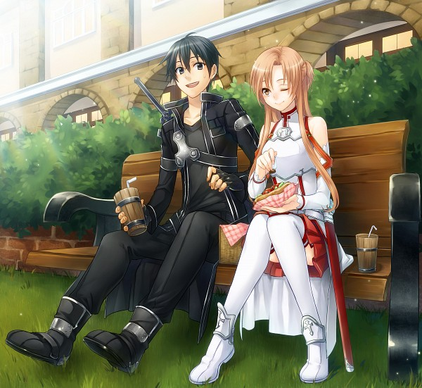 Tags: Anime, Pixiv Id 3516497, Sword Art Online, Kirigaya Kazuto, Yuuki Asuna, Picnic Basket, Hot Dog, Pixiv