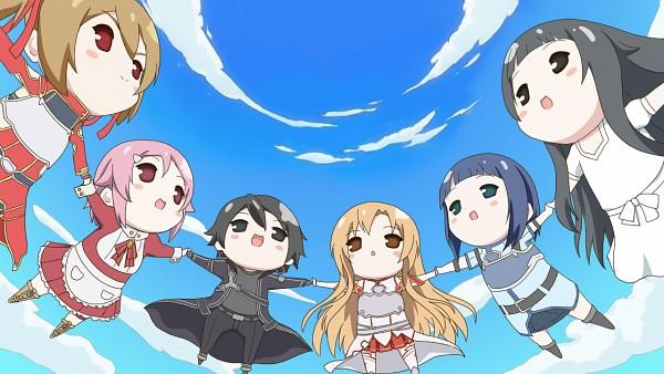 Tags: Anime, Hoshino Sora, Sword Art Online, Shinozaki Rika, Yuuki Asuna, Ayano Keiko, Kirigaya Kazuto, Yui (Sword Art Online), Sachi (Sword Art Online), Kyoukai Senjou No Horizon (Parody), Facebook Cover, Wallpaper