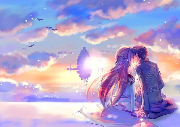 Tags: Anime, Naruse Chisato, Sword Art Online, Yuuki Asuna, Kirigaya Kazuto, Fanart From Pixiv, Pixiv, PNG Conversion, Fanart
