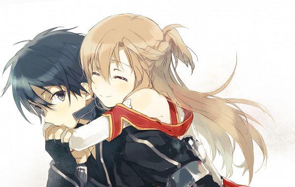 Tags: Anime, Nicolat, Sword Art Online, Yuuki Asuna, Kirigaya Kazuto, Hug Neck, Fanart From Pixiv, Pixiv, PNG Conversion, Fanart