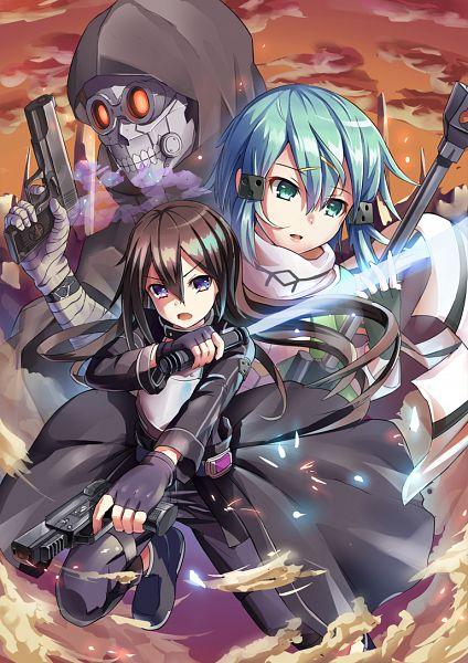 Tags: Anime, Pixiv Id 4570006, Sword Art Online, Death Gun, Asada Shino, Kirito (GGO), Kirigaya Kazuto, Sinon (GGO), Mobile Wallpaper, PNG Conversion
