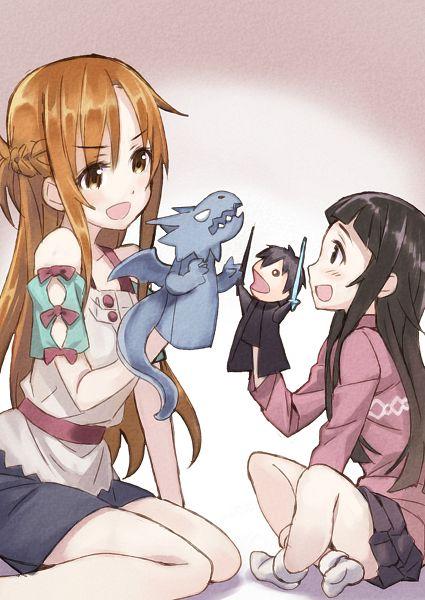 Tags: Anime, Matsuryu, Sword Art Online, Fashionplate, Yui (Sword Art Online), Yuuki Asuna, Kirigaya Kazuto, Pixiv, Mobile Wallpaper, Fanart From Pixiv, PNG Conversion, Fanart, Comic Market 86