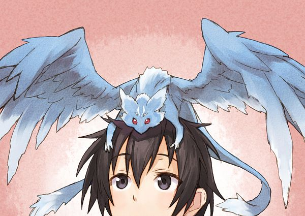 Tags: Anime, Matsuryu, Sword Art Online, Fashionplate, Kirigaya Kazuto, Pina (Sword Art Online), Mini Dragon, PNG Conversion, Comic Market 86