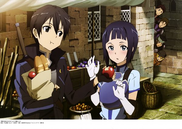 Tags: Anime, A-1 Pictures, Sword Art Online, Sword Art Online Artbook (Tentative), Tetsuo (Sword Art Online), Keita (Sword Art Online), Sachi (Sword Art Online), Ducker (Sword Art Online), Kirigaya Kazuto, Sasamaru (Sword Art Online), Official Art, Scan