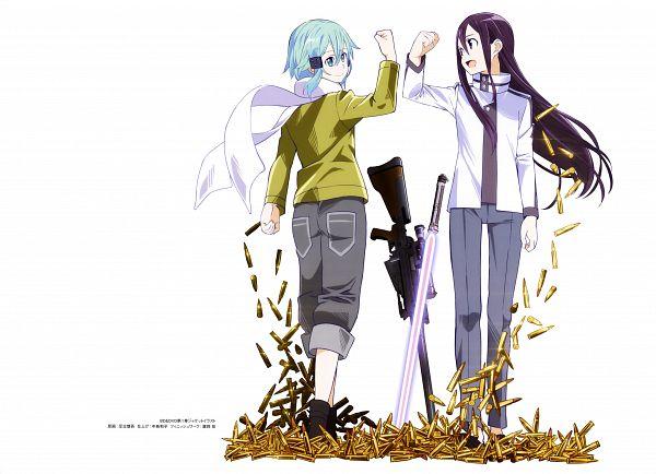 Tags: Anime, A-1 Pictures, Sword Art Online, Sword Art Online Artbook (Tentative), Kirito (GGO), Sinon (GGO), Asada Shino, Kirigaya Kazuto, Glowing Weapons, Sniper Rifle, Scan, Official Art