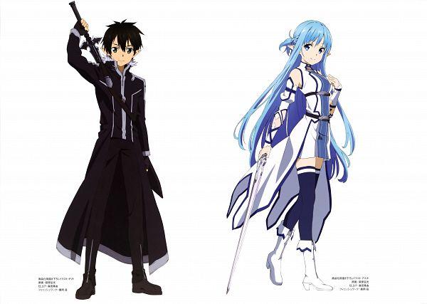 Tags: Anime, A-1 Pictures, Sword Art Online, Sword Art Online Artbook (Tentative), Asuna (ALO), Yuuki Asuna, Kirito (ALO), Kirigaya Kazuto, Official Art, Scan