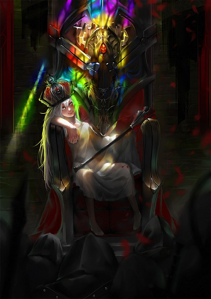 Tags: Anime, Syh3iua83, Knight, Sitting On Throne, Stained Glass, Throne, Light And Dark, Mobile Wallpaper, Original
