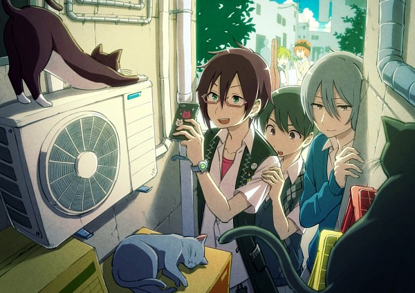 Tags: Anime, 710chazuke, THE iDOLM@STER: SideM, Fuyumi Jun, Wakazato Haruna, Iseya Shiki, Akiyama Hayato, Sakaki Natsuki, Air Conditioner, Instrument Case, Guitar Case, Fanart From Pixiv, Pixiv