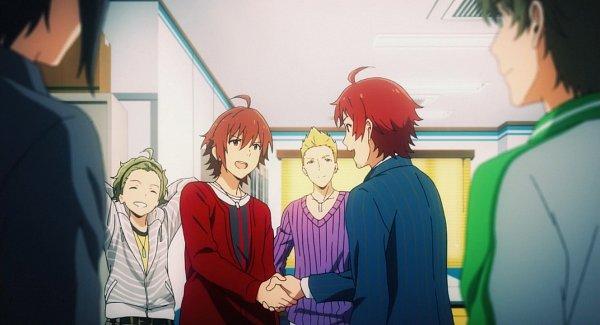 Tags: Anime, THE iDOLM@STER: SideM, THE iDOLM@STER, Ijuuin Hokuto, Amagase Touma, Tendou Teru, Sakuraba Kaoru, Mitarai Shouta, Kashiwagi Tsubasa, Dramatic Stars, Shaking Hands, Screenshot, Jupiter (Idolmaster)