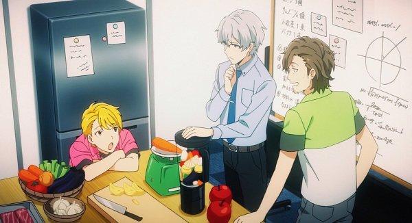 Tags: Anime, THE iDOLM@STER: SideM, Hazama Michio, Maita Rui, Yamashita Jiro, Board, Onion, Weighing Scale, Refrigerator, Meat, Blender, Pepper, Screenshot