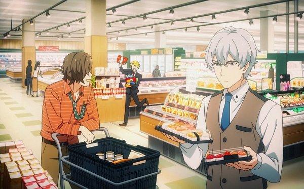 Tags: Anime, THE iDOLM@STER: SideM, Maita Rui, Yamashita Jiro, Hazama Michio, Market, Screenshot