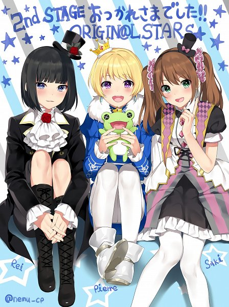 Tags: Anime, Nemunemu, THE iDOLM@STER: SideM, Kagura Rei, Mizushima Saki, Pierre (iDOLM@STER: SideM), Crunchies, Frog Doll, Mobile Wallpaper, Twitter, Fanart