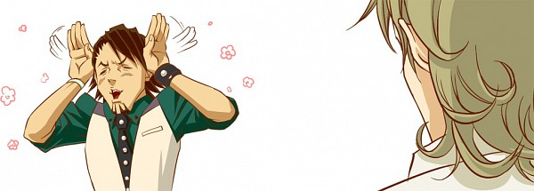 Tags: Anime, Shiroi Karasu, TIGER & BUNNY, Barnaby Brooks Jr., Kaburagi T. Kotetsu, Bunny Ear Gesture, Fanart, Pixiv