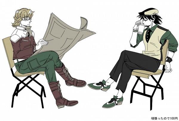 Tags: Anime, Pixiv Id 1415752, TIGER & BUNNY, Kaburagi T. Kotetsu, Barnaby Brooks Jr., Newspaper, Pixiv, Fanart