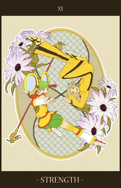 Tags: Anime, Pixiv Id 709762, TIGER & BUNNY, Pao-lin Huang, Dragon Kid, Strength (Tarot), Art Nouveau, Mobile Wallpaper, Pixiv
