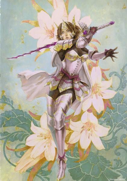 Tags: Anime, Kojima Ayami, Koei, Sengoku Musou, Tachibana Ginchiyo (Sengoku Musou), Gray Outfit, Electric Sword, Official Art, Scan