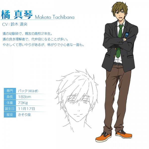 Tags: Anime, Nishiya Futoshi, Kyoto Animation, Free!, Tachibana Makoto, Eyes Half Closed, Official Character Information, Character Profile, Cover Image, Official Art