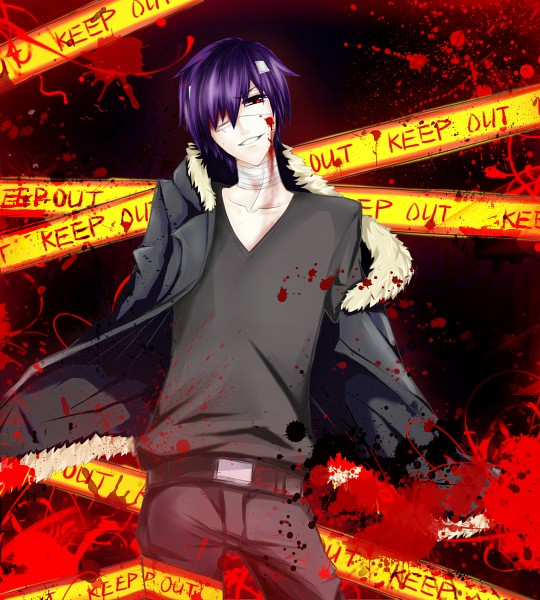Tags: Anime, Pixiv Id 3899935, VOCALOID, Taito, Bandaged Neck, Orihara Izaya (Cosplay), Crime Scene Tape, Pixiv, Yandereloid