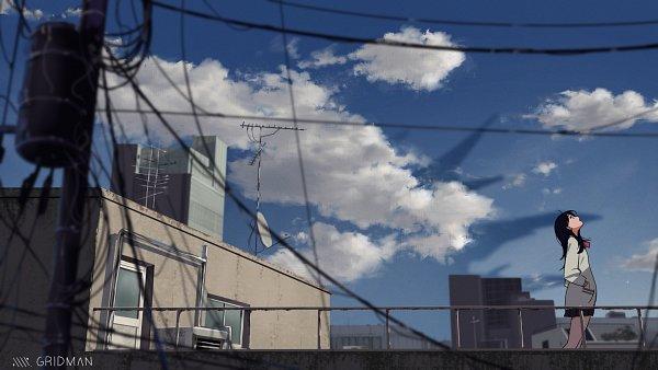 Tags: Anime, Pixiv Id 35529128, SSSS.Gridman, Takarada Rikka, Roof, Kaiju (Gridman), Wallpaper