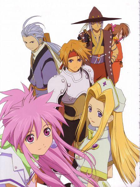 Tags: Anime, Tales of Phantasia, Arche Klein, Fujibayashi Suzu, Mint Adenade, Klarth Lester, Chester Barklight, Cless Alvein, Official Art, Scan