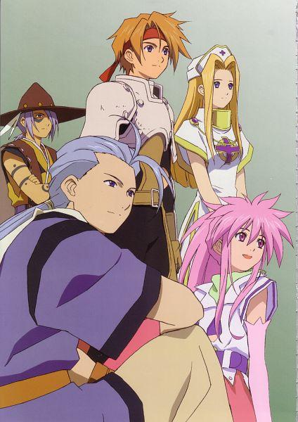 Tags: Anime, Tales of Phantasia, Arche Klein, Mint Adenade, Klarth Lester, Chester Barklight, Cless Alvein, Official Art, Scan