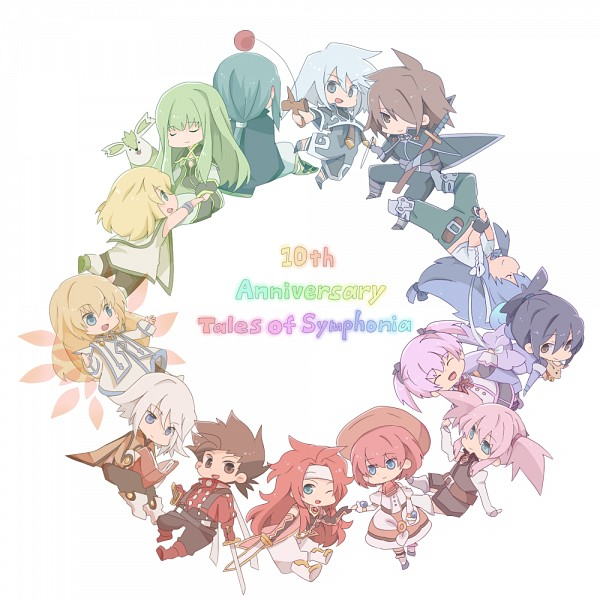 Tags: Anime, Pixiv Id 2039034, Tales of Symphonia, Raine Sage, Lloyd Irving, Yuan Ka-Fai, Genis Sage, Seles Wilder, Kratos Aurion, Mithos Yggdrasill, Colette Brunel, Alicia Combatir, Regal Bryant, Tales Of Symphonia: Dawn Of The New World