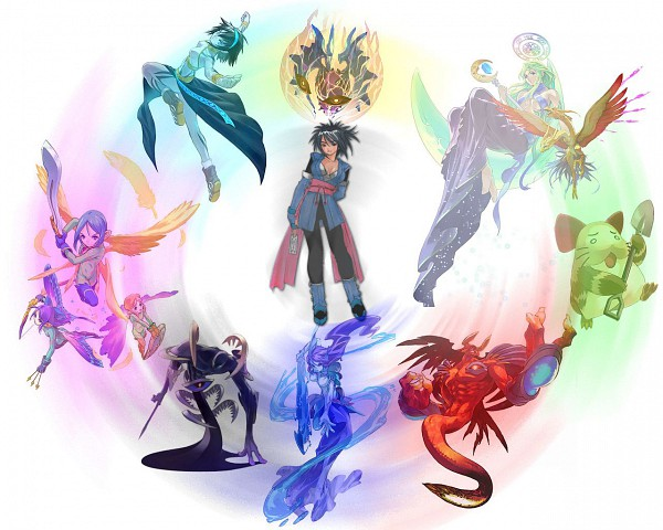 Tags: Anime, Fujishima Kousuke, Tales of Symphonia, Celsius, Gnome (Tales), Efreet, Shadow (Tales), Sylph, Sheena Fujibayashi, Volt (Tales), Luna (Tales), Aska, Undine (Tales), Tales Of Symphonia: Dawn Of The New World