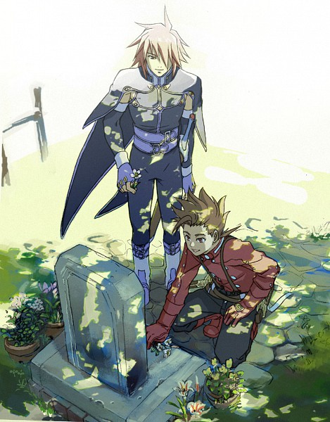 Tags: Anime, Shimabara, Tales of Symphonia, Lloyd Irving, Kratos Aurion, Grave, Pixiv, Fanart, Tales Of Symphonia: Dawn Of The New World