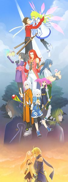 Tags: Anime, Pixiv Id 975811, Tales of Symphonia, Colette Brunel, Regal Bryant, Sheena Fujibayashi, Mithos Yggdrasill, Zelos Wilder, Presea Combatir, Corrine, Raine Sage, Lloyd Irving, Emil Castagnier, Tales Of Symphonia: Dawn Of The New World