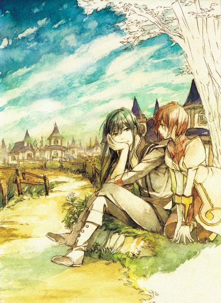 Tags: Anime, Pixiv Id 45831, Tales of Vesperia, Estellise Sidos Heurassein, Yuri Lowell, Under A Tree, Fanart