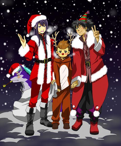 Tags: Anime, Kiriku (Nakuro), Tales of Vesperia, Karol Capel, Raven (Tales of Vesperia), Repede, Yuri Lowell, Party Hat, Reindeer Costume, Party
