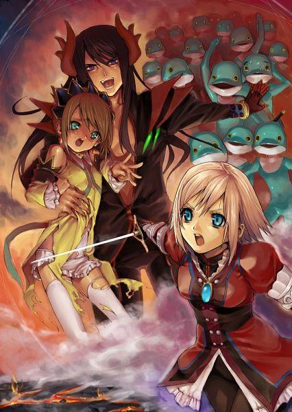 Tags: Anime, Natsuhiko, Tales of Vesperia, Rita Mordio, Estellise Sidos Heurassein, Yuri Lowell, Fog, Army, Hell