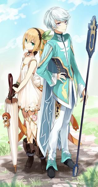 Tags: Anime, Shirako Miso, Tales of Zestiria, Edna (Tales of Zestiria), Mikleo (Tales of Zestiria), Mobile Wallpaper, Pixiv