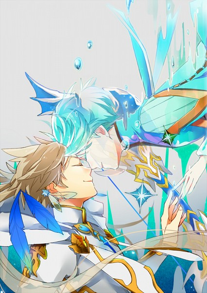 Tags: Anime, Rouki Isago, Tales of Zestiria, Mikleo (Tales of Zestiria), Sorey (Tales of Zestiria), Forehead Against Forehead, Touching Fingers, Mobile Wallpaper