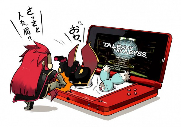 Tags: Anime, Ryo-hakkai, Tales of the Abyss, Asch the Bloody, Mieu (Tales of the Abyss), Luke fon Fabre, Nintendo 3DS, Fanart